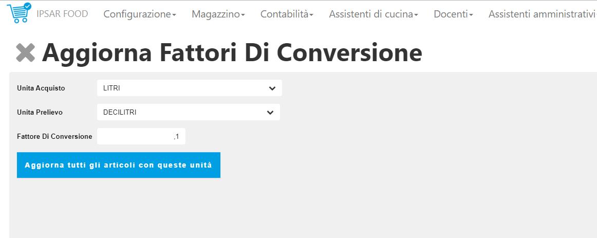 funzione per aggiornamento rapido dei fattori di conversione