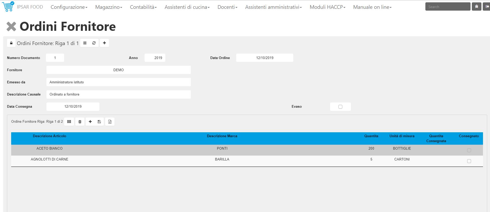 ordini fornitore haccp
