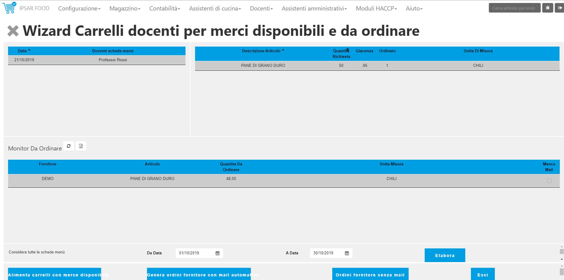 Funzione per la creazione automatica degli ordini fornitore a partire dalle schede menù dei docenti